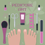 Set of accessories and tools for pedicure and two feet Royalty Free Stock Photography