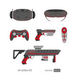 Set of accessories for virtual reality system on a white backgro Royalty Free Stock Photography