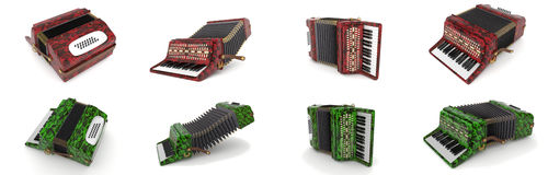 Set of accordions - musical instrument Stock Image