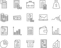 Set of accounting line vector icons. Outline style stock illustration