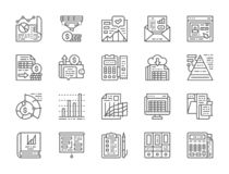 Set of Accounting Report Line Icons. Presentation, Bank Account, Resume and more stock illustration