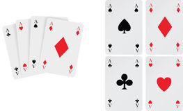 Set of aces playing cards. Playing card winning hand of aces and cards individually Royalty Free Stock Images