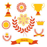 Set of achievement award silhouettes. Royalty Free Stock Image
