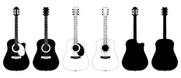A set of acoustic classic guitars of black on white background. String musical instruments stock illustration