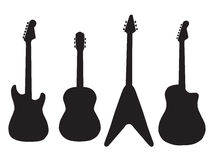 Set of acoustic guitars and electric guitars Royalty Free Stock Images