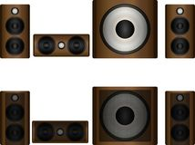 Set of acoustics. Left right center and subwoofer Royalty Free Stock Image
