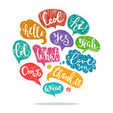 Set of acronyms and abbreviations. Set of most common used acronyms and abbreviations on hand drawn speech bubbles Royalty Free Stock Photos