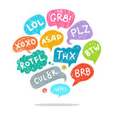 Set of acronyms and abbreviations. Set of most common used acronyms and abbreviations on hand drawn speech bubbles Royalty Free Stock Photo