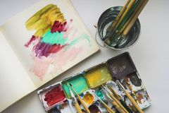 Set of acrylic color paints, brushes for painting Stock Image