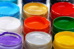 Set of acrylic paints for dyeing fabrics. Stock Photos