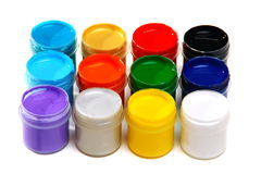 Set of acrylic paints for painting fabrics. Stock Photo