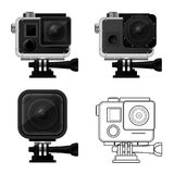 Set of action camera icons in waterproof case - sport cam. Icon Stock Images