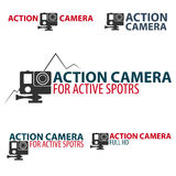 Set Action camera logo. Camera for active sports. Ultra HD. 4K. Stock Photo
