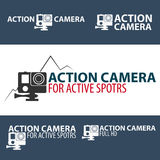 Set Action camera logo. Camera for active sports. Ultra HD. 4K. Royalty Free Stock Photo