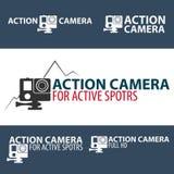 Set Action camera logo. Camera for active sports. Ultra HD. 4K. Royalty Free Stock Photo