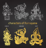 Set action characters of Ramayana,thai tradition style Stock Photo