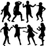 Set of active children silhouettes Stock Photography