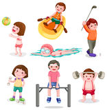 Set of activity exercise Royalty Free Stock Photo