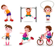 Set of activity kids playing Stock Photo
