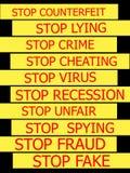 Set actual slogans written on yellow tapes. On a white background Stock Photo