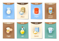 Set of AD-cards -banners, tags, package- with cartoon baking ingredients. Flour, eggs, oil, water, starch, baking powder, milk, sugar. Vector illustration Stock Photography