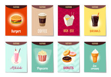 Set of AD-cards, banners, tags, package with cartoon fast food. Hamburger, coffee, wok box, soda, milk shake, popcorn, donuts and ice cream. Vector stock illustration