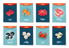 Set of AD-cards, banners, tags, package with cartoon sea food Stock Image