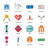 Set of adaptability, bank branch, orchid, demo, elastic, hospitality, shotgun, vr headset, municipal icons. Set Of 16 simple  icons such as adaptability, bank Royalty Free Stock Photography