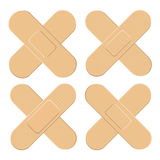 Set of Adhesive, flexible, fabric plaster . Medical bandage in different shape - straigh cross. Vector illustration isolated on wh Stock Image