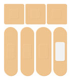 Set of Adhesive, flexible, fabric plaster. Medical bandage in different shape - straight, square, rectangular. Vector illustration Royalty Free Stock Photo