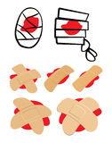 Set of Adhesive  plaster and bandage with red  blood puddle. Medical equipment in different shapes. Vector illustration  o Stock Image