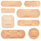 Set of adhesive plasters. Isolated on white background Stock Image