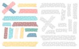 Set adhezyjna, kleista kolorowego i bielu różna wielkościowa, taśma, papierów kawałki z gwiazdami Zdjęcie Stock