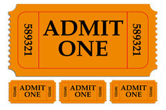 Set of Admit One Paper Tickets. Series of paper perforated tickets for admission to movie theater, fair, festival or other event, isolated Stock Photos