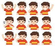 Set of Adorable Boy facial emotions. Isolated vector. Set of Adorable Boy facial emotions. Boy face with different expressions. Schoolboy portrait avatars royalty free illustration