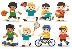 Set of adorable boys activity. Set of adorable boys activity, some of cute boys playing with toys, read a book, playing sport including basketball, athletic Stock Illustration