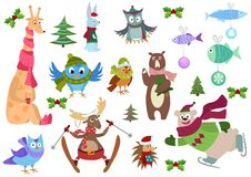 Set of adorable christmas winter animals and fish with colorful decorations. Set of adorable animals and fish with colorful decorations Royalty Free Stock Images