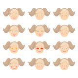 Set of Adorable Girl facial emotions. Girl face with different expressions. vector illustration