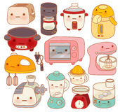 Set of adorable kitchen appliances , cute kettle , lovely oven , Stock Photo