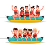 Set adults and children ride on a banana boat. Vector illustrati. On of a flat design Royalty Free Stock Images