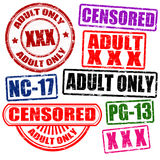 Set of adults only stamps Royalty Free Stock Photography