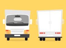 Set ładunek ciężarówka obcy kreskówki kota ucieczek ilustraci dachu wektor Poruszający samochód dostawczy Zdjęcie Royalty Free