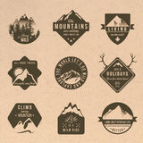 Set of adventure labels in vintage style Royalty Free Stock Photo