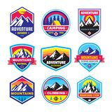 Set of adventure outdoor concept badges, summer camping emblem, mountain climbing logo in flat style. Creative vector illustration. Graphic design element vector illustration