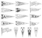 Set of adventure, outdoors, camping pennants. Retro monochrome labels. Hand drawn wanderlust style. Pennant travel flags. Design. Vector illustration stock illustration