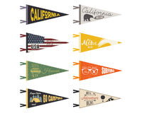 Set of adventure pennants. Vector Pennant explore flags design. Vintage surf, caravan, rv templates. USA, california. Pennant with summer camp symbols trailer Royalty Free Stock Images
