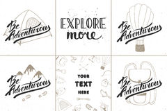 Set of adventure and travel vector hand drawn unique typography greeting cards, decoration, template, prints, banners and posters. Royalty Free Stock Image