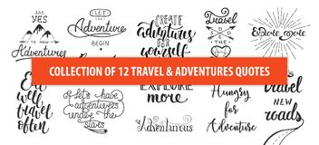 Set of adventure and travel vector hand drawn unique typography. Design element for greeting cards, decoration, prints and posters. Modern calligraphy stock illustration