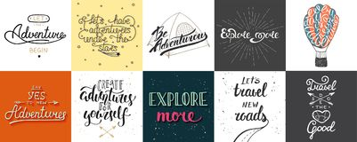 Set of adventure and travel vector hand drawn unique typography. Greeting cards, decoration, template, prints, banners and posters. Modern ink brush calligraphy stock illustration