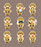 Set of Adventurer people stickers Stock Photo